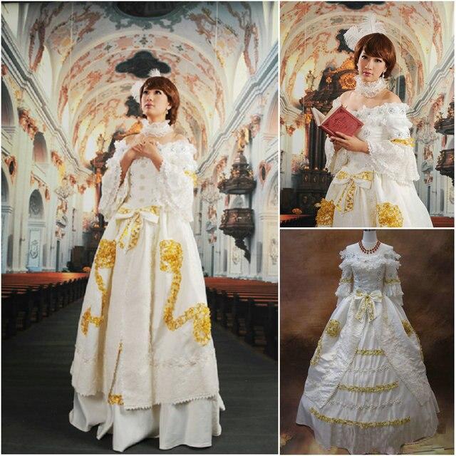 Kunde gebildete 19 Century Weiß Viktorianischen Kleider 1860 s ...
