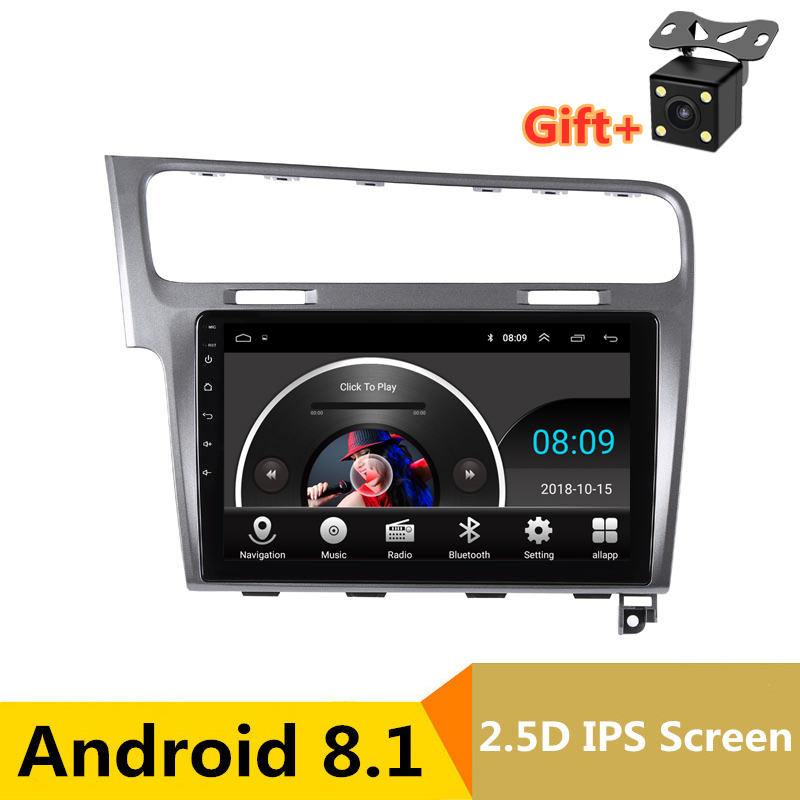 "10"" 2.5D IPS Android 8.1 Car DVD Multimedia Player GPS For  Volkswagen VW Golf 7 2013 2014 2015 audio radio stereo navigaton"