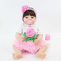55cm Full Silicone Reborn Babt Doll Toy 22inch Popular Vinyl Newborn Princess Babies Girl Bonecas Like Alive Bebe Bathe Toy Play