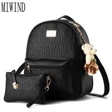 Новый женский рюкзак известные бренды плечи женские дорожные сумки искусственная кожа черный мешок школы женственный рюкзак T342