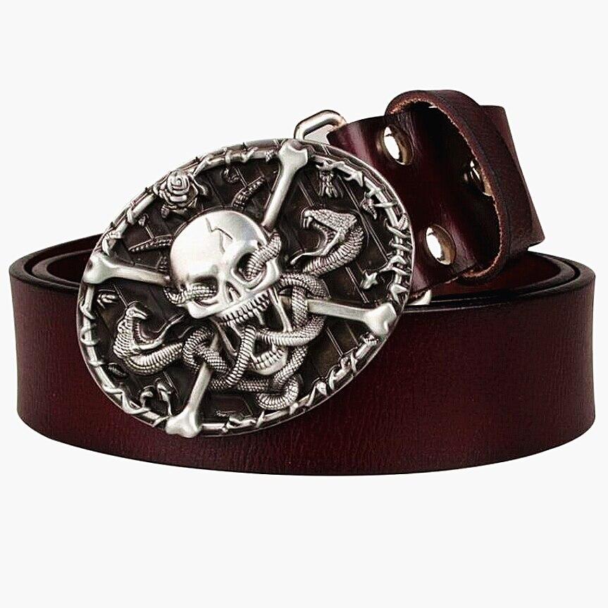 Cool men's Genuine Leather belt metal buckle flame Skull belt bad bone belt snake demon cross punk rock style show girdle women