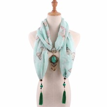pendant scarfs mujer summer jewelry shawls necklace fashion boho printed butterfly apparel accessories cotton