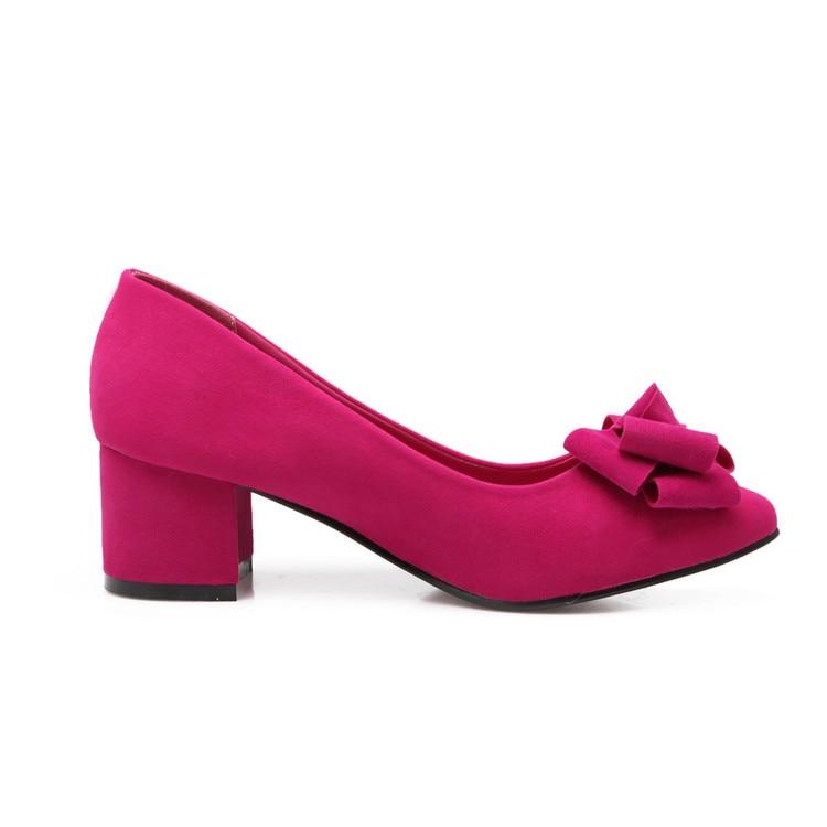 Pompes Talon Taille Doux Bout Carré Bureau Red Bowtie Femme Grande purple Xjrhxjr Chaussures Robe black Simples Troupeau Dames Mode pink Pointu PZwuXOkiT