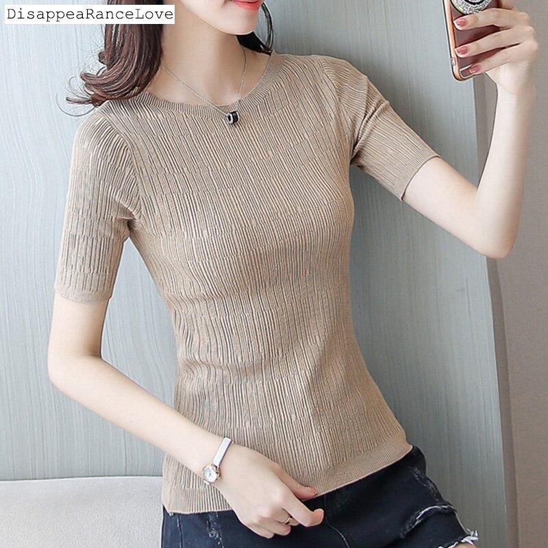 Encolure de base à manches courtes blouse femme court conception mince pull chandail moitié manches blouse mince moitié manches viscose