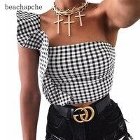Elegant Ruffle Cold Shouldet Tank Tops Cool Girls Streetwear Women Fashion Sexy Bustier Summer Feamle Crop