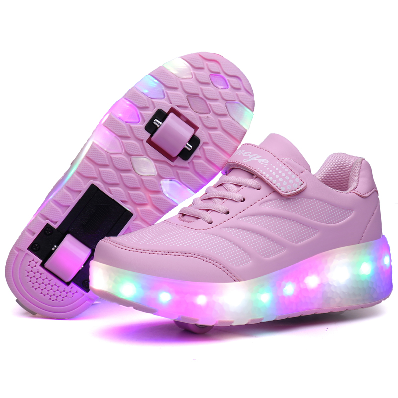 Chrismas Gift 2017 Two Wheels Children Shoes Leather with LED Lighted Breathable Fashion Sport Casual Boy & Girls Sneakers