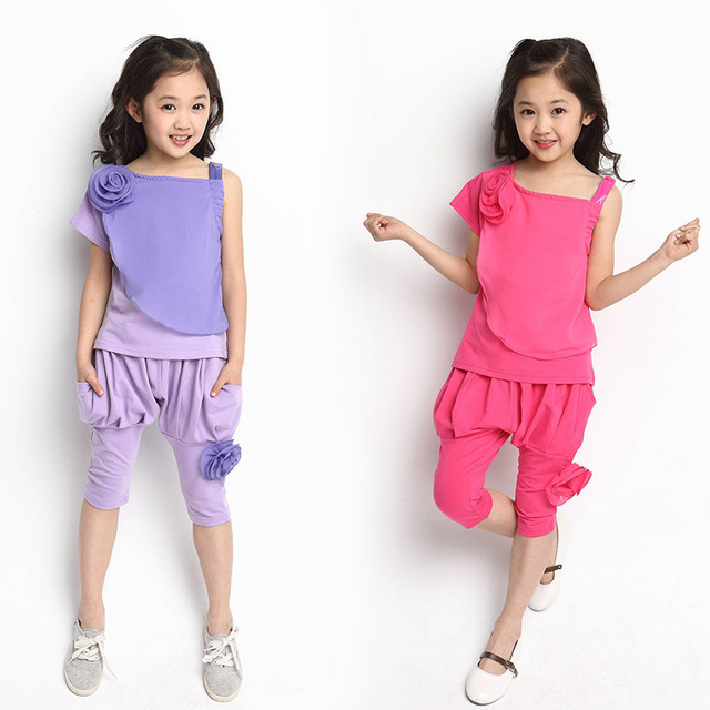 2017 New Baby Girls Summer Chiffon Clothes Sets Short Sleeve T shirt + Fifth Pants Kids 2pcs Suits Children Clothing Outfit