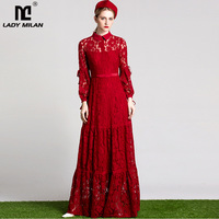 New Arrival 2017 Autumn Women S Turn Down Collar Long Sleeves Embroidery Lace Hollow Out Prom