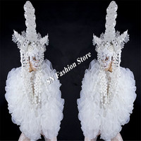 BC95 Ballroom dance sexy men costume white headdress robot suit singer bar stage show wears clothes dress mask party performance
