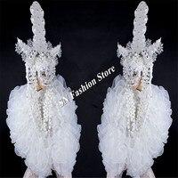 Bc95 Костюмы для бальных танцев Танцы сексуальный костюм белый головной убор робот костюм певица бар Этап Показывать носит одежду платье мас