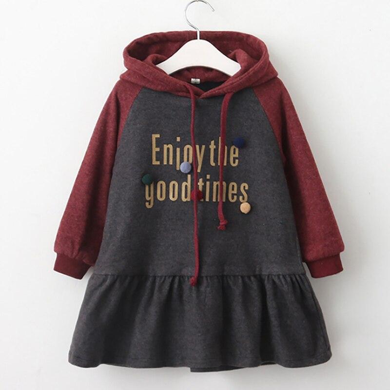 kids dresses for girls hooded children clothing cotton girls dress long sleeve kids clothes a-line dresses girl princess dress