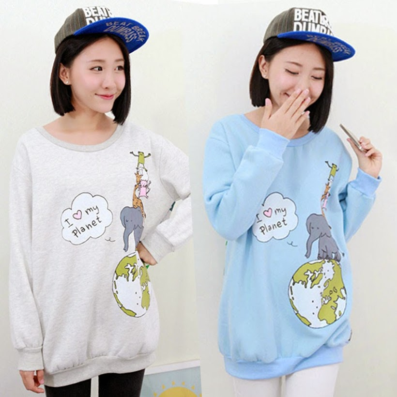 Over size Girls Cute Cartoon Tops Pullover Ribbed Womens Spring Autumn Elephant Trees Casual Sweats Outerwear Sweatshirt Tops ...