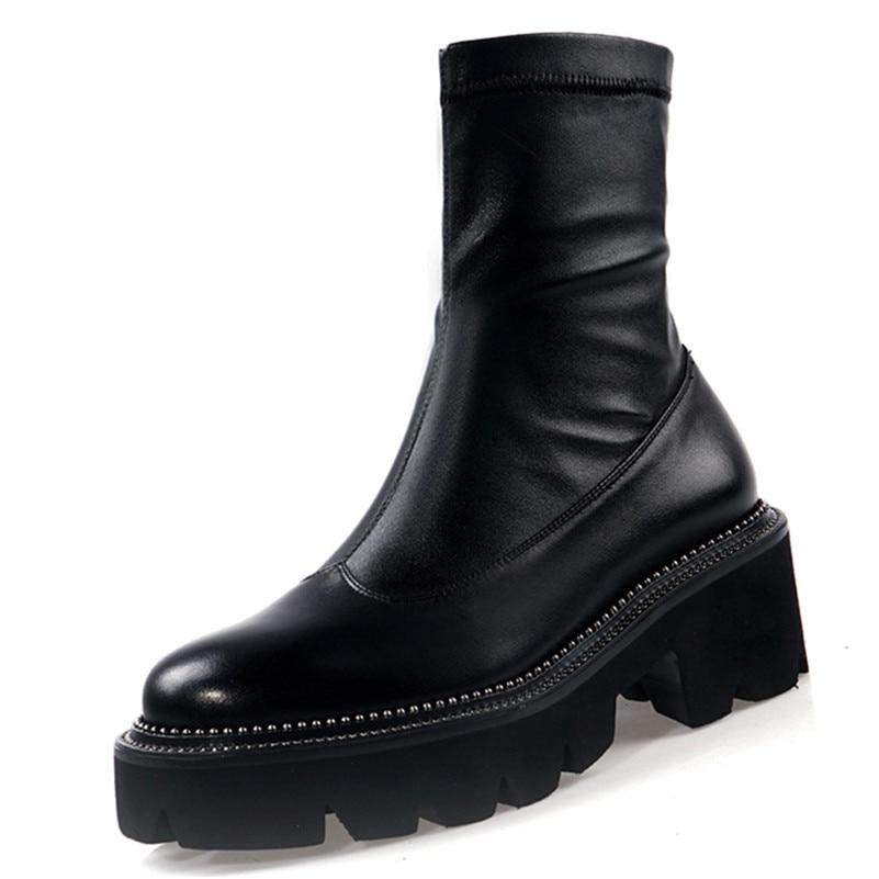 FEDONAS الكلاسيكية جولة اصبع القدم منصة أحذية جلد طبيعي المرأة حذاء من الجلد حجم كبير الإناث تشيلسي أحذية بوت قصيرة أحذية الحفلات امرأة-في أحذية الكاحل من أحذية على  مجموعة 3