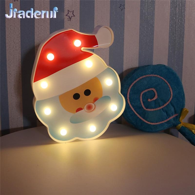 Jiaderui Новый светодиодный Санта Клаус для ночника домашнего Спальня Аксессуары Батарея Powered теплый белый свет для детей рождественские подар...