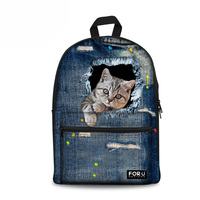Cute Animal 3D Print Cat Women Canvas Schoolbag for Teenage Girls School Backpacks for Student Casual Denim Back Packs Mochila