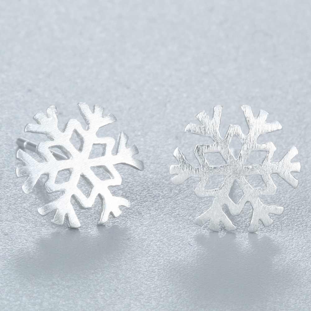 QIAMNI 女性の美しいスノーフレーク雪の花ピアススタッドイヤリング 925 スターリングシルバージュエリー女の子誕生日クリスマスギフト