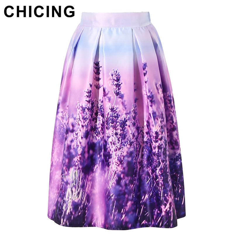 Chicing Women Floral Midi Skirts Plus Size Xxl 2016 Purple
