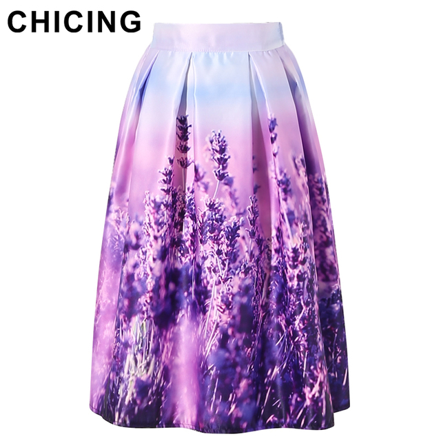 c74007ec55f CHICING Women Floral Midi Skirts Plus Size XXL 2016 Purple Lavender Printed  High Waist Pleated Skater Flared Skirt Saia A1601022