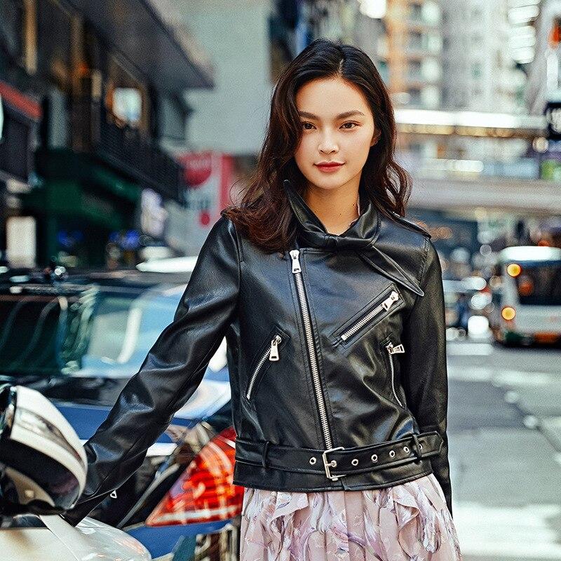 Early autumn original design shopping malls women's wear new black PU coat black leather.
