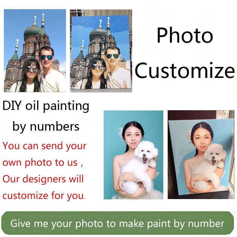 Wow! Peinture par numéros pour portrait mariage famille Pet photos personnalisé numérique peinture coloriage numéros sur toile peintures