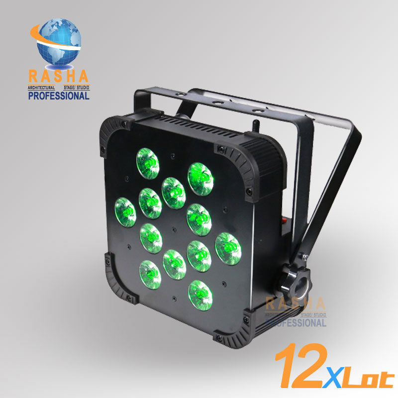 12X Lot Rasha Hot Sale 12*15W RGBAW Wireless DMX LED Flat Par Can - 12*15W RGBAW V12 Wireless DMX LED Par Light DMX Stage Light ct 3086 salinity meter portable salinity meter brackish meter precision pen style digital salinity meter 0 0