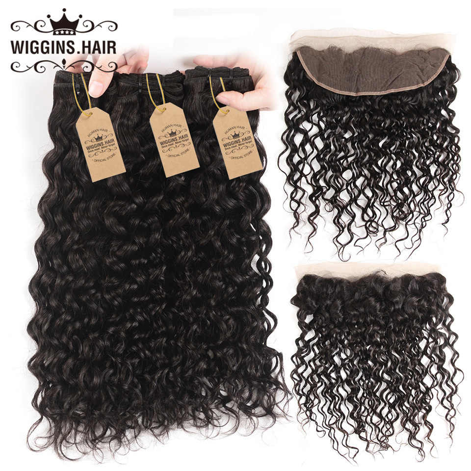 Wiggins Hair Water Wave Bundle With Closure Frontal 3 Bundles Malaysian Hair Bundles With Closure Remy Human Hair Weave 4 Pcs