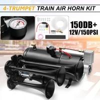 Truck Train Quad 4 Trumpet Air Horn Kit Black 150 PSI DC12V 3 Liters Air Compressor & House
