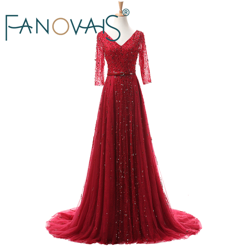 Real Photos Luxury Sequins Beading Crystal Beaded   Evening     Dress   with Sash V-neck A-line Half Sleeves   Evening   Gowns