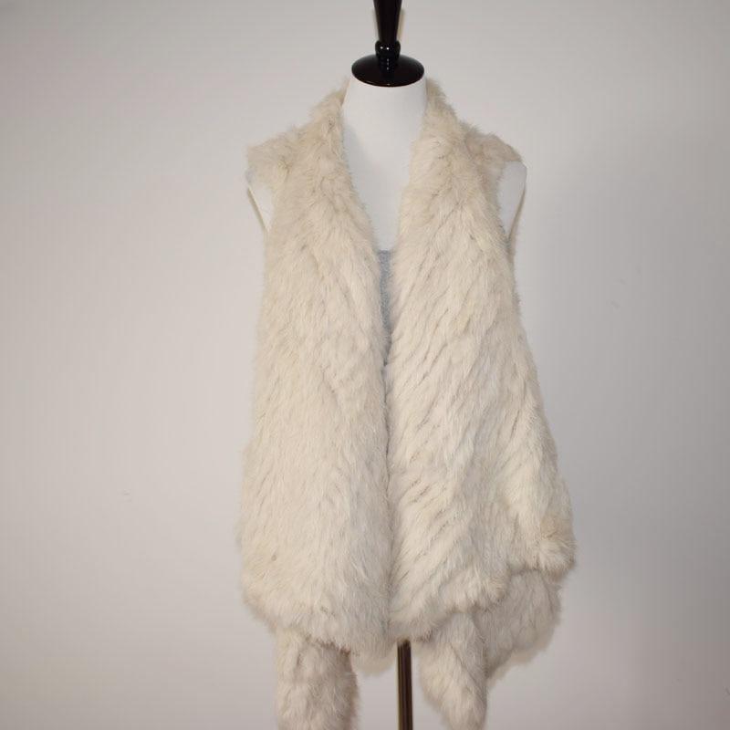 Lf4097 Khaki natural Vraie Survêtement Réel Lapin Femmes beige Fourrure natural Mode Longueur Grey Brown Asymétrique Gilet Tricoté De Lady topfurmall 14Z6OO