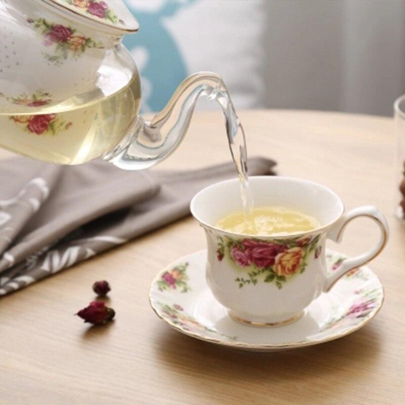 Wourmth British afternoon tea fresh pastoral style ceramic flower tea tea set tea flower heating base