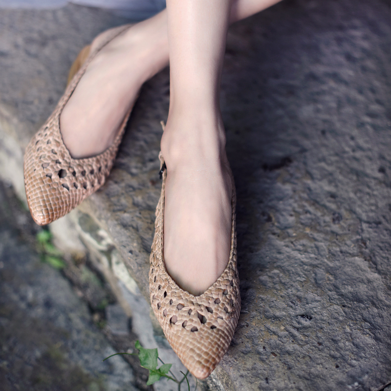 Artmu Original Retro Hand-woven Women Sandals Summer Flat Pointed Toe Hollow-out Sandals New Handmade Shoes 2088 lcx 2017 summer pvc hollow out sandals glitter flat stock the bird nest hole wholesale or retail