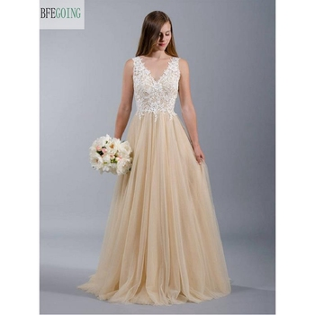 White  Lace Champagne  Tulle  V-Neck  A-line Wedding Dress  Floor -Length Sweep/Brush Train   Real/Original Photos Custom made