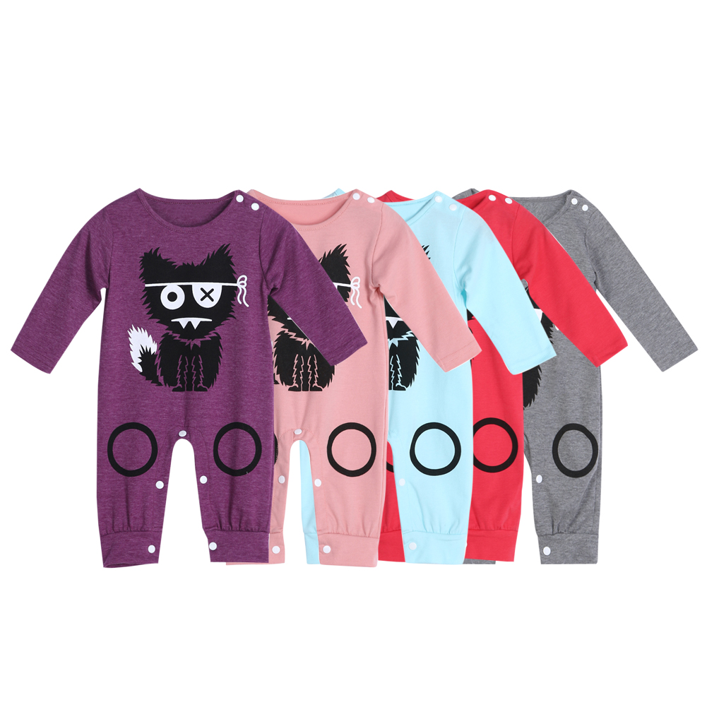 2017 Baby Boy Clothes Long Sleeve Baby Rompers Newborn  Cartoon Wolf Baby Girl Clothing Jumpsuit Infant Clothing newborn baby rompers baby clothing 100% cotton infant jumpsuit ropa bebe long sleeve girl boys rompers costumes baby romper