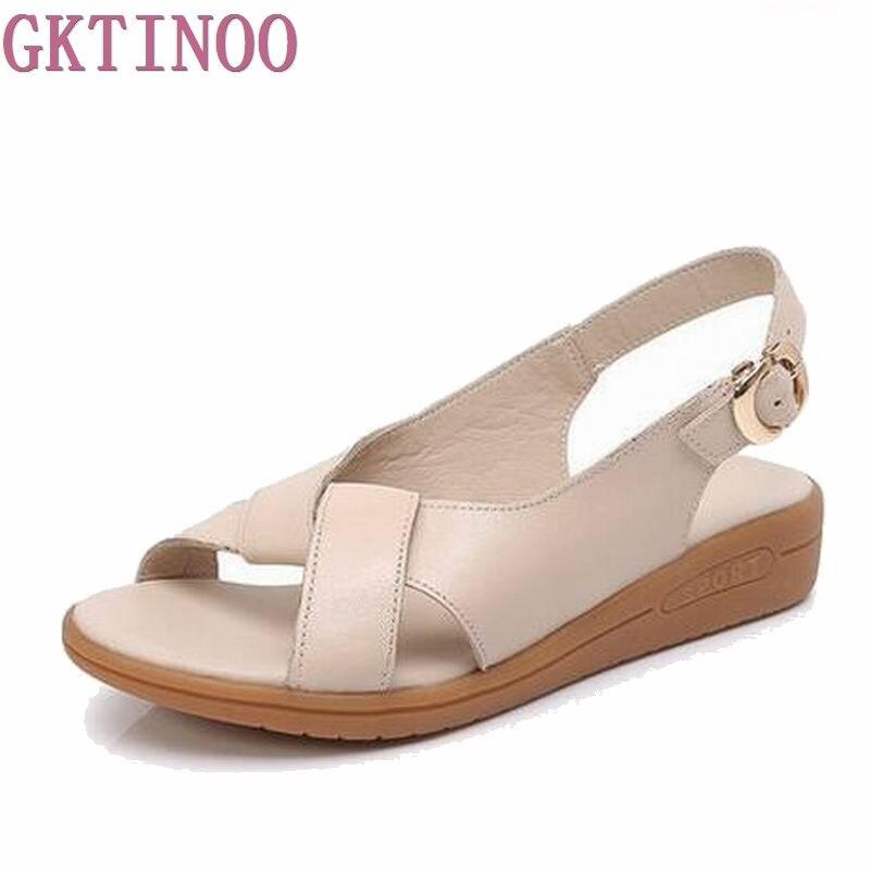 Женская обувь босоножки из натуральной кожи женские босоножки 2018 г. модная летняя обувь на плоской подошве женские босоножки sandalias mujer #2895