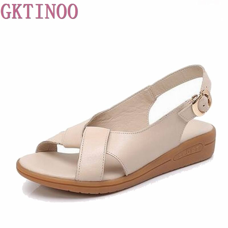 Women Shoes Genuine Leather Sandals Women Sandals Fashion 2017 Summer Flats Shoes Woman Sandals Sandalias Mujer #2895 fashion sandals women flower flip flops summer shoes soft leather shoes woman breathable women sandals flats sandalias mujer x3