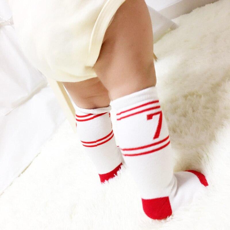 2016 New Baby Girls Boys Socks Children's Knee High Socks Baby Leg Warmers Cotton Sport Seven Design