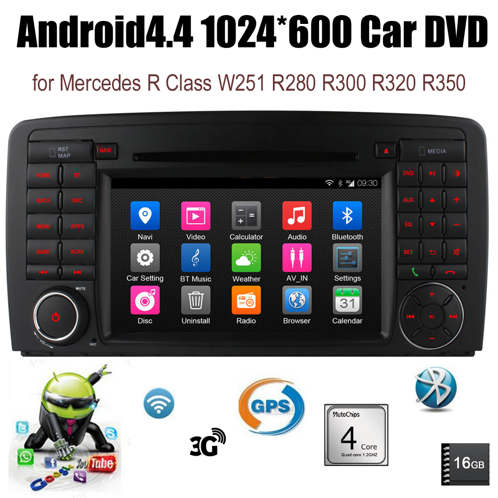 Android4.4 Car DVD FM AM radios Quad Core For B/enz R Class W251 R280 R300 R320 R350 support wifi 3G BT GPS DAB TPMS DTV