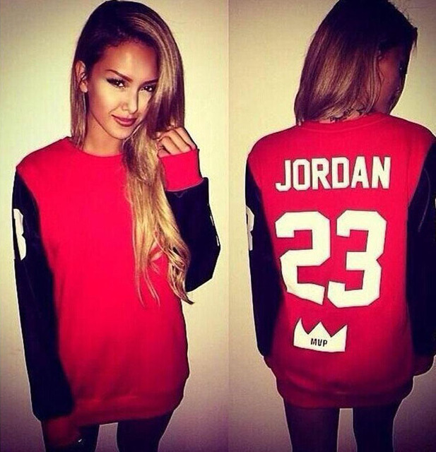 Red Black Cotton Hoodies JORDAN Letter Print Autumn Women Fashion O Neck  Casual Hoodies Pullover Harajuku Sweatshirt Tops 9715056e4c