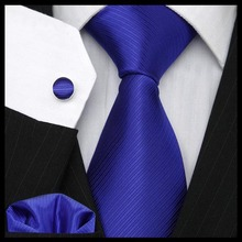 High Quality Classic Solid Blue men's tie suit set Business ties  Men's wedding Fashion gift Free Shipping