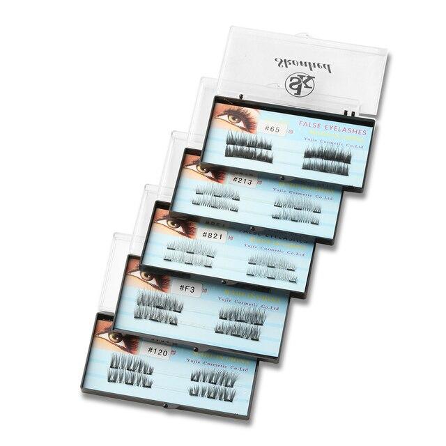 1Set Diverse Style Black 3D Triple Magnetic False Eyelashes Handmade Soft Magnet Lashes Cross Eye Makeup Extension Tools No Glue False Eyelashes