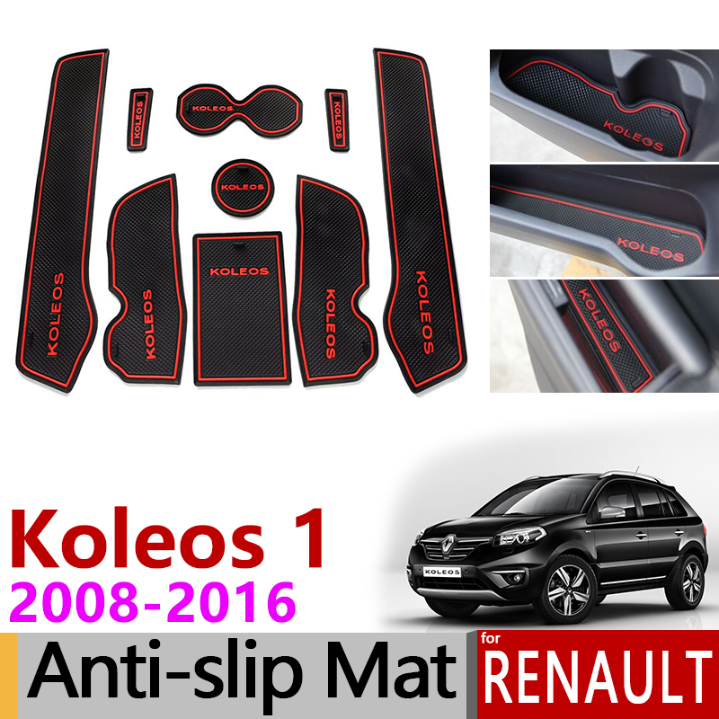Anti-Slip Rubber Gate Slot Cup Mat For Renault Koleos 1 2008 - 2016 Samsung QM5 Accessories 2009 2010 2011 2012 2013 2014 2015