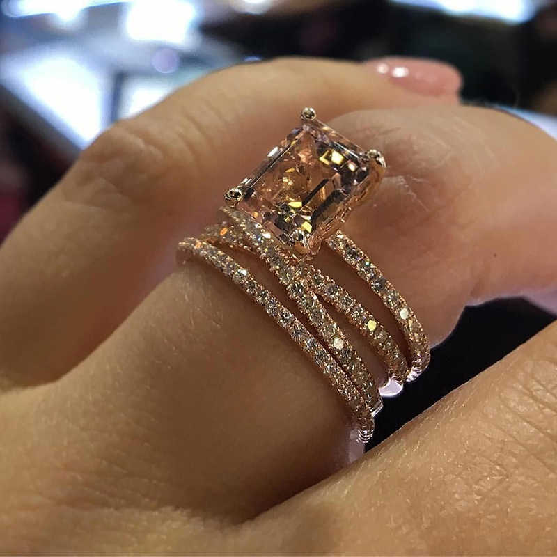 Tisonliz Luxury Rose Gold Rectangle Crystal Rings For Women Girl Rhinestone Wedding Engagement Finger Rings Elegant Jewelry Gift