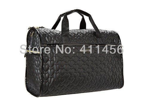 цена 2017 New arrival black leopard red Quilted synthetic leather duffel bag carry on luggage