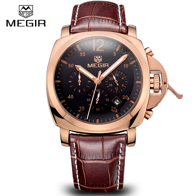 Megir Top Genuine Leather Sport Luxury Watch Men Brand Casual Quartz Watch Male CHRONOGRAPH 6 hand Function Wristwatch Clock men mens watch top luxury brand fashion hollow clock male casual sport wristwatch men pirate skull style quartz watch reloj homber