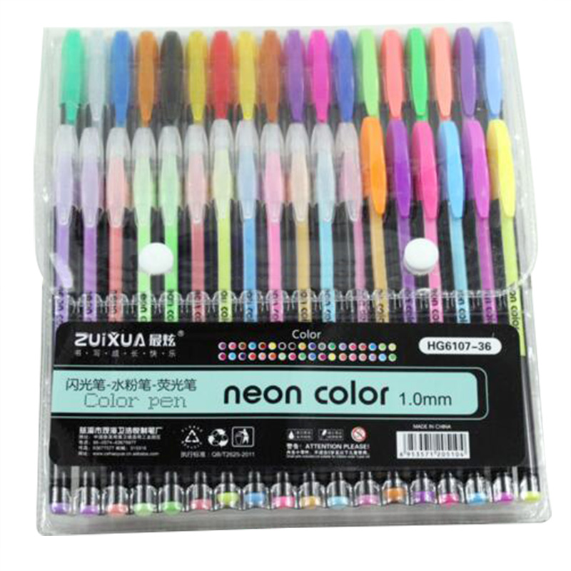ZUIXUAN 36 Gel Pens set Color gel pens Glitter Metallic pens Good gift For Coloring Kids Sketching Painting Drawing
