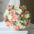 Novia que sostiene las flores, Ramo de La Boda Hecho A Mano Flor Color de Rosa Artificial Decoración de flores de la boda Ramo de Novia para La Boda brid