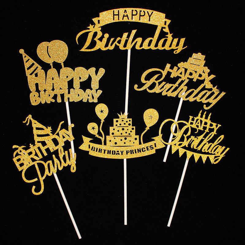 Cake Topper Happy Birthday Party Supplies Cupcake Topper Birthday Party Decorations Kids Baby Shower Happy Birthday Cake Toppers