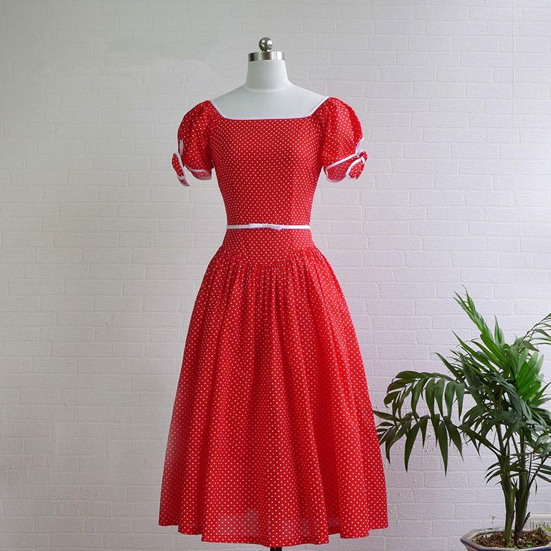 Magasin de Jessica Femmes D'été Vintage Royal Style Col Carré Arc Manches Bouffantes Polka Dot Coton Slim Moyen Long Robe rouge/Noir