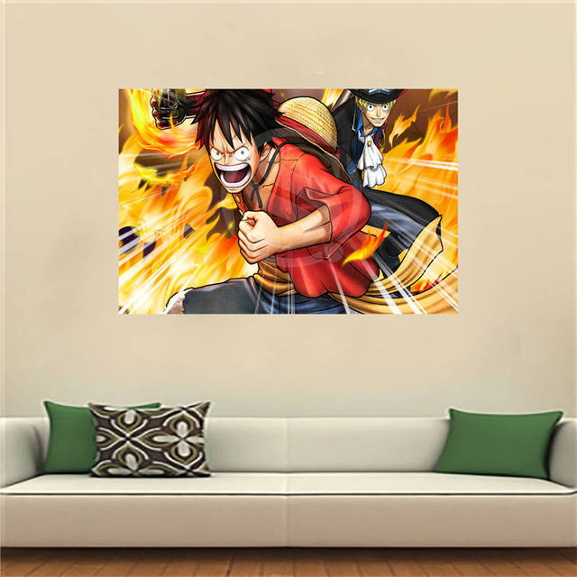 LfJy Custom Cartoon One Piece Anime Canvas Painting Wall Silk