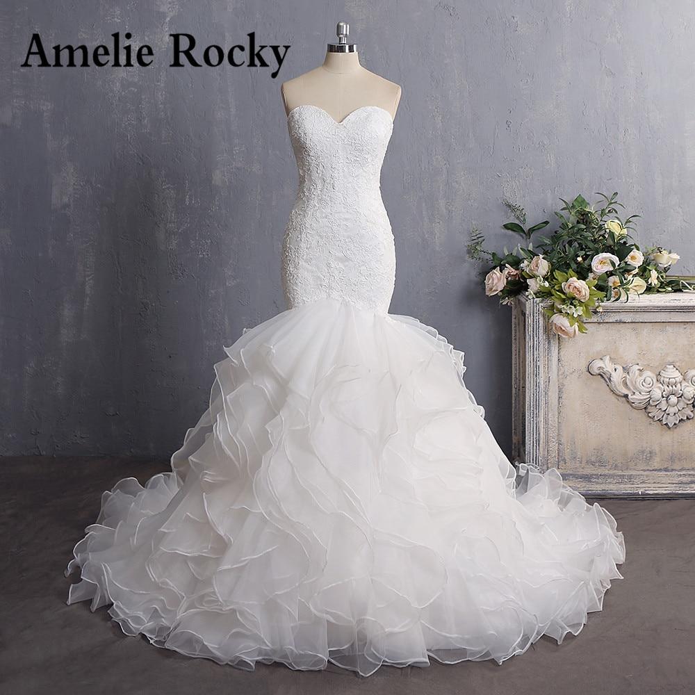Vestidos De Novia 2019 Cheap Bride Dress Vintage Court Train Organza Lace Sexy Mermaid Wedding Dress